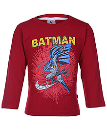 Cucumber Maroon Full Sleeves Batman Print T Shirt