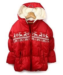 Beebay Red Full Sleeves Intarsia Patch Jacket - Attached Hood