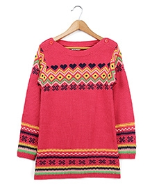 Beebay Full Sleeves Intarsia Tunic Sweater - Pink