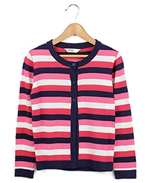 Beebay Full Sleeves Multi Stripe Cardigan - Pink