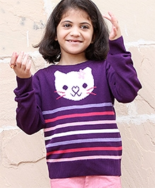 Beebay Full Sleeves Purple Sweater - Cat Pattern