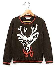 Beebay Full Sleeves Brown Sweater - Reindeer Design
