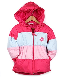 Beebay Pink Full Sleeves Quilted Hooded Jacket - 5 - 6 Years