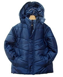 Beebay Navy Blue Full Sleeves Hooded Jacket - High Neck