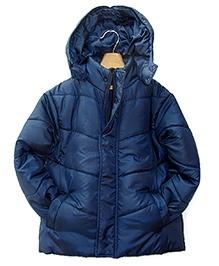 Beebay Navy Blue Full Sleeves Hooded Jacket - High Neck - 3 - 4 Years