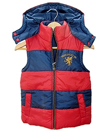 Beebay Dual Colour Sleeveless Quilted Hooded Jacket - 1 - 2 Years