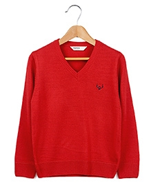 Beebay Red Full Sleeves Plain Sweater - V Neck