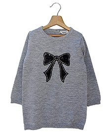 Beebay Sequin Bow Tunic Sweater - Grey