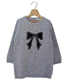 Beebay Sequin Bow Tunic Sweater - Grey