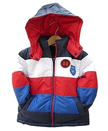 Beebay Full Sleeves Hooded Jacket - Multi Colour Stripes - 3 - 4 Years