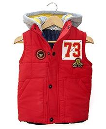 Beebay Red Twill Sleeveless Hooded Jacket - 3 - 4 Years