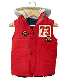 Beebay Red Twill Sleeveless Hooded Jacket