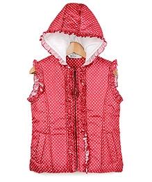 Beebay Red Sleeveless Polka Dots Print Hooded Jacket - 1 - 2 Years