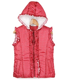 Beebay Red Sleeveless Polka Dots Print Hooded Jacket