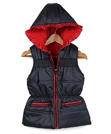 Beebay Black Sleeveless Hooded Jacket - Frill Lace Hood - 1 - 2 Years