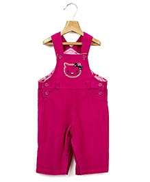 Beebay Dark Pink Casual Dungaree - Cat Face Embroidery