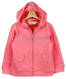 Beebay Peach Full Sleeves Hooded Sweatshirt - Crystal Decorative