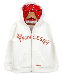 Beebay White Full Sleeves Hooded Sweatshirt - Machine Embroidery