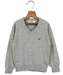 Beebay Full Sleeves V Neck Pullover Grey