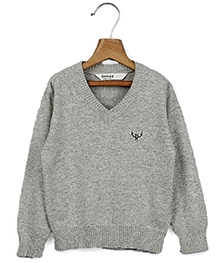 Beebay Full Sleeves V Neck Pullover Grey