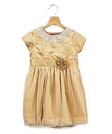 Beebay Short Sleeves Golden Shimmer Net Party Frock - Sequins Neckline