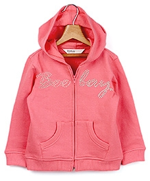 Beebay  Full Sleeves Hooded Zipper Sweatshirt Coral