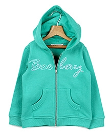 Beebay  Full Sleeves Hooded Zipper Sweatshirt Green
