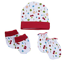 Morisons Baby Dreams Cap Mitten And Booties Set - Maroon