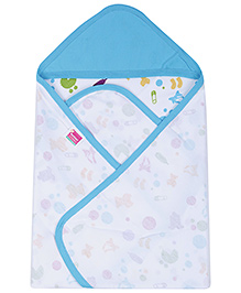 Morisons Baby Dreams Hooded Cloth Wrap - Blue