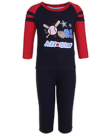 Child World Navy Blue Full Sleeves Top And Legging Set - Patch Work