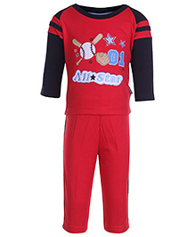 Child World Red Full Sleeves Top And Legging Set - Patch Work