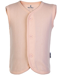 Child World Peach Sleeveless Plain Vest