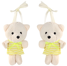 Fab N Funky Teddy Bear In Yellow Dress Pattern Curtain Tieback 16 Cm, Soft Plush Curtain Tieback To Keep Your Curtain Tidy And Beautiful
