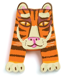Djeco Wooden A Letter - Tiger Face