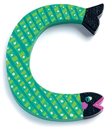 Djeco Wooden C Letter - Fish Pattern