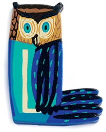 Djeco Wooden L Letter Toy - Owl Design
