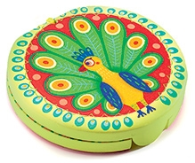 Djeco Wooden Mirror Peacock Tail - Diameter 7 cm