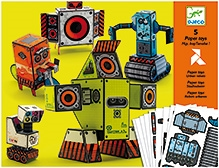 Djeco Urban Robots Potes Folded Paper Toy Kit - Five Paper Toys