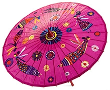 Djeco Fairies And Flowers Bamboo Kids Umbrella - Pink