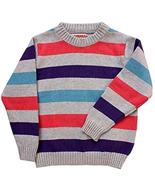 Campana Red Broad Striped Sweater - Rib Neck