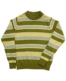 Campana Green Broad Striped Sweater - Rib Neck