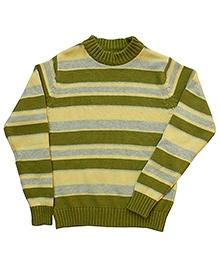 Campana Green Broad Striped Sweater - Rib Neck