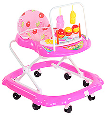 Fab N Funky Baby Blue Musical Walker With Attached Toy - Strawberry Print - 316028