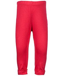 Nauti Nati Red Plain Legging - Frill Lace At Hem