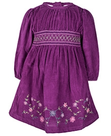 Nauti Nati Purple Full Sleeves Frock - Flower Embroidery Border