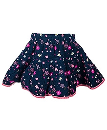 Nauti Nati Navy Blue Flower Print Frill Skirt - Pink Piping