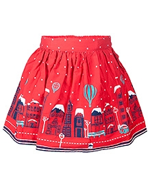 Nauti Nati Red Building Print Casual Skirt