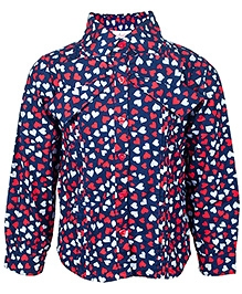 Nauti Nati Full Sleeves Heart Print Shirt - Blue