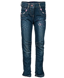 Nauti Nati Blue Denim Narrow Bottom Jeans - Sequins And Thread Work