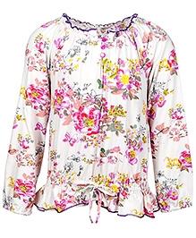 Nauti Nati White Full Sleeves Colourful Flower Print Top - Round Frill Neck - 0 - 6 Months